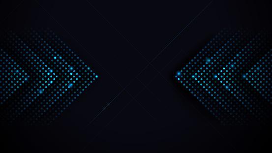 Arrows Light Blue Abstract Futuristic Speed on Black Background. Vector Illustration