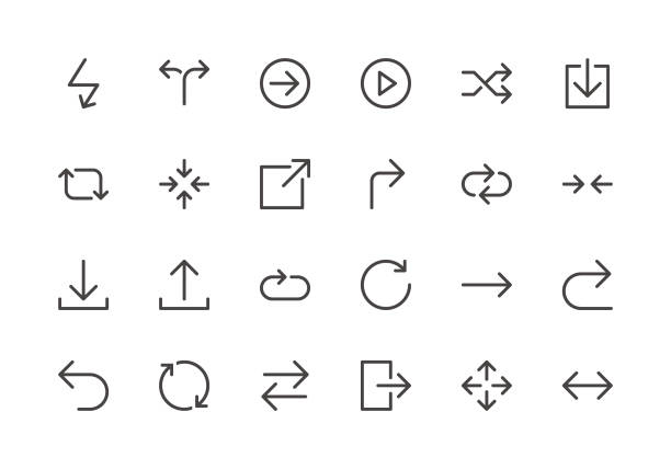 arrows - line icons - repetition stock illustrations