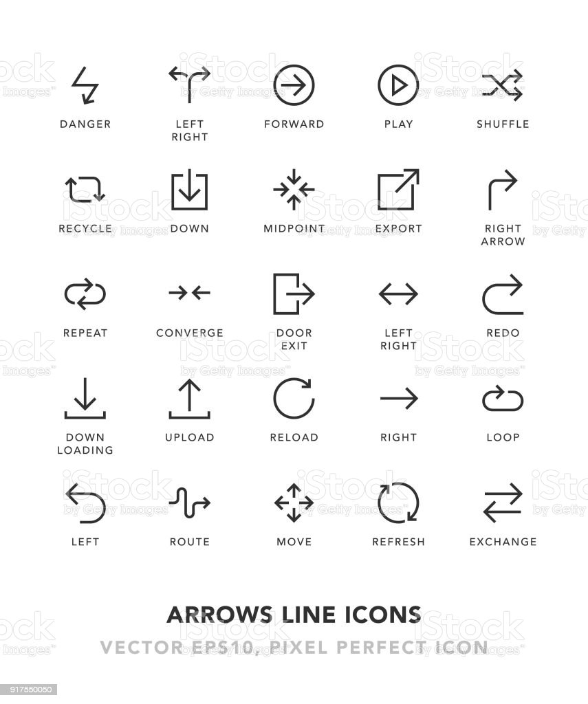 Arrows Line Icons vector art illustration