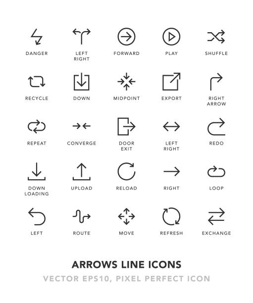 arrows line icons - repetition stock illustrations