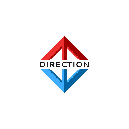Arrows logo isometric 3d shape, rise and fall of stock quotes or currency financial direction sign, two red-blue arrows up and down.