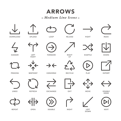 Arrows - Medium Line Icons - Vector EPS 10 File, Pixel Perfect 30 Icons.