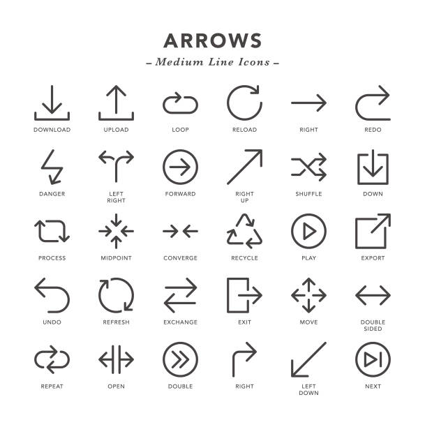 arrows - medium line icons - repetition stock illustrations