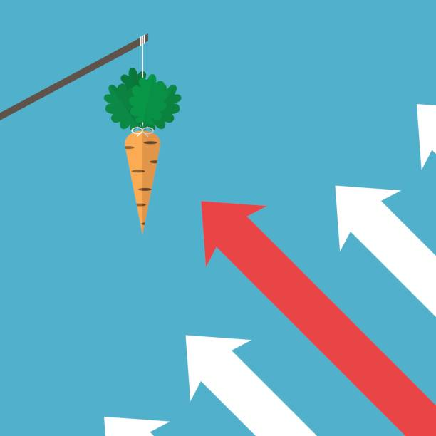 illustrazioni stock, clip art, cartoni animati e icone di tendenza di arrows moving to carrot - agitare una carota davanti a qualcuno