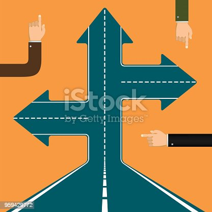 Human hands point the finger the direction. Arrows on the road. Stock vector illustration.