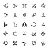 Arrows Set - 25 Outline Style - Single black line icons - Pixel Perfect / Pack #54 Icons are designed in 48x48pх square, outline stroke 2px.  First row of outline icons contains: Separating Arrows, Merging Arrows, Zoom in, Zoom Out, Traffic Circle Arrows;    Second row contains: Alphabetical Order, Inbox - Filing Tray, Up and Down Arrows, Infinity Arrow, Outbox - Filing Tray;  Third row contains: Road Sign, Mouse Cursor, Merger Arrows, Restoring, Pointer Stick;  Fourth row contains: Minimize icon, Update, Shuffling Arrows, Recycling Symbol, Navigation Arrows;  Fifth row contains: Reload Arrow, Crossing Arrows, Variation (Choice) Arrow, Repetition Arrows, Traffic Arrow Sign.   Complete Grandico collection - https://www.istockphoto.com/collaboration/boards/FwH1Zhu0rEuOegMW0JMa_w