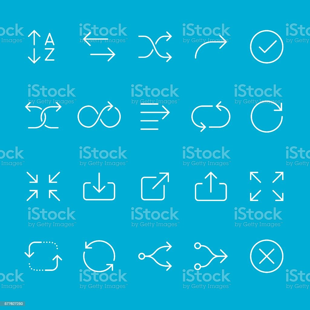 Arrows outline icons vector art illustration