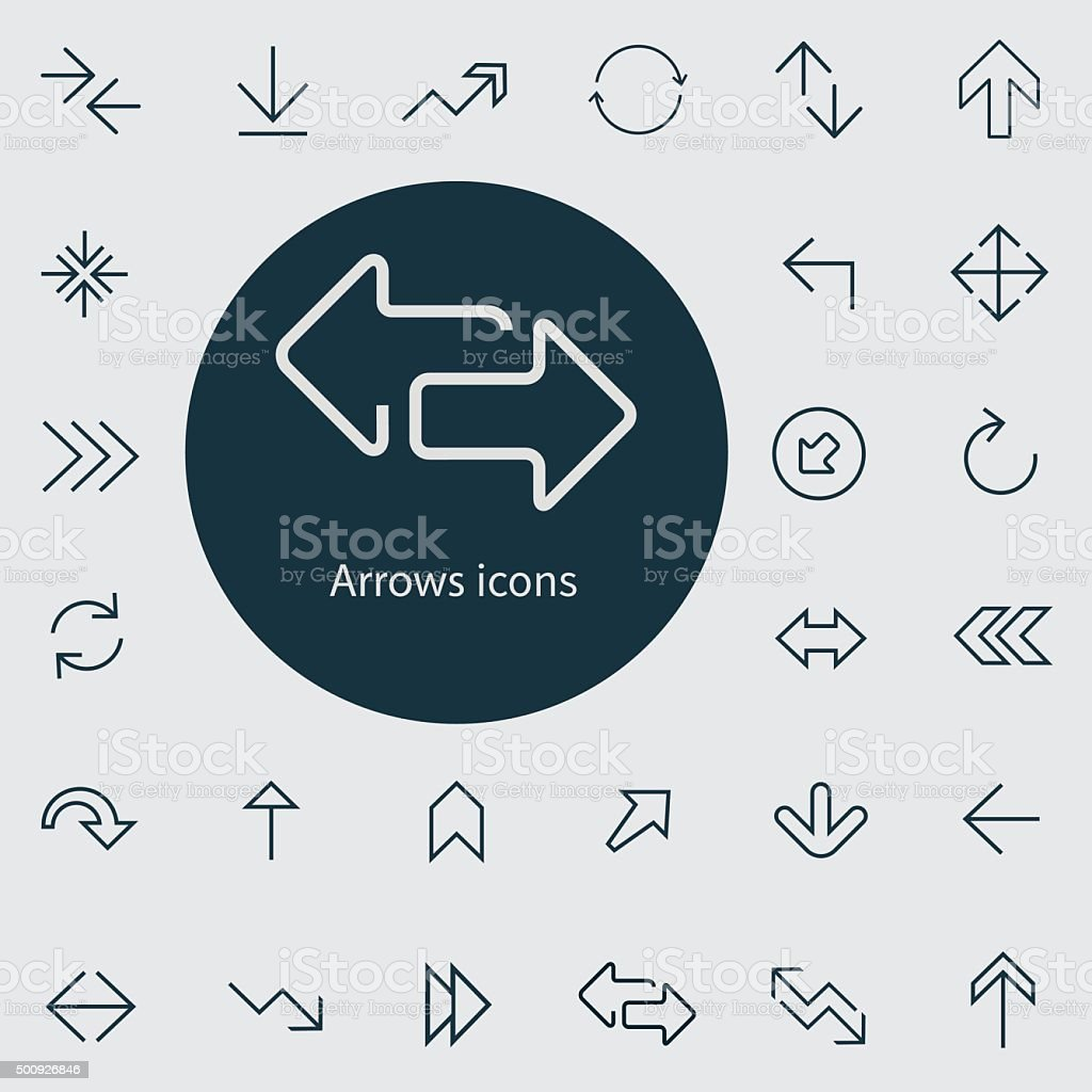 Arrows outline, thin, flat, digital icon set vector art illustration