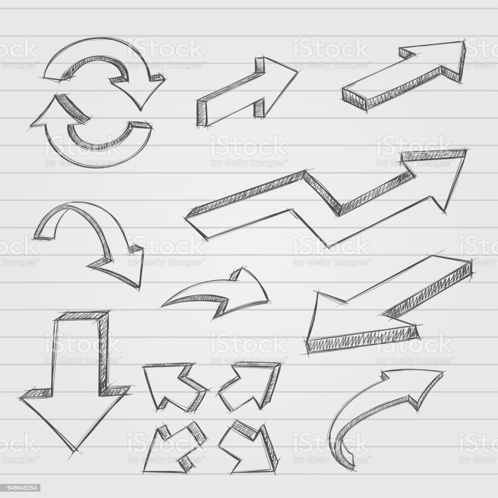 Arrows Pencil Drawing Dirty Sketch Style On Lined Paper Background