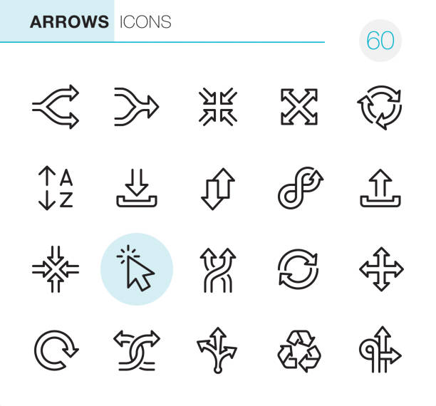 Arrows - Pixel Perfect icons 20 Outline Style - Black line - Pixel Perfect Arrows icons / Set #60 / Icons are designed in 48x48pх square, outline stroke 2px.  First row of outline icons contains:  Separating Arrows, Merging Arrows, Zoom in, Zoom Out, Traffic Circle Arrows;  Second row contains:  Alphabetical Order, Inbox - Filing Tray, Up and Down Arrows , Infinity Arrow , Outbox - Filing Tray;  Third row contains:  Minimize icon, Navigation Arrows, Shuffling Arrows, Recycling Symbol, Mouse Cursor;    Fourth row contains:  Reload Arrow, Crossing Arrows, Variation (Choice) Arrows, Repetition Arrows, Traffic Arrow Sign.  Complete Primico collection - https://www.istockphoto.com/collaboration/boards/NQPVdXl6m0W6Zy5mWYkSyw alphabet symbols stock illustrations