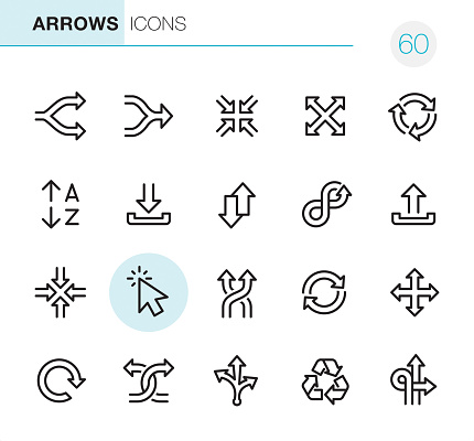 Arrows Pixel Perfect Icons Stock Illustration - Download Image Now