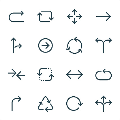 Arrows - Pixel Perfect Unicolor line icons