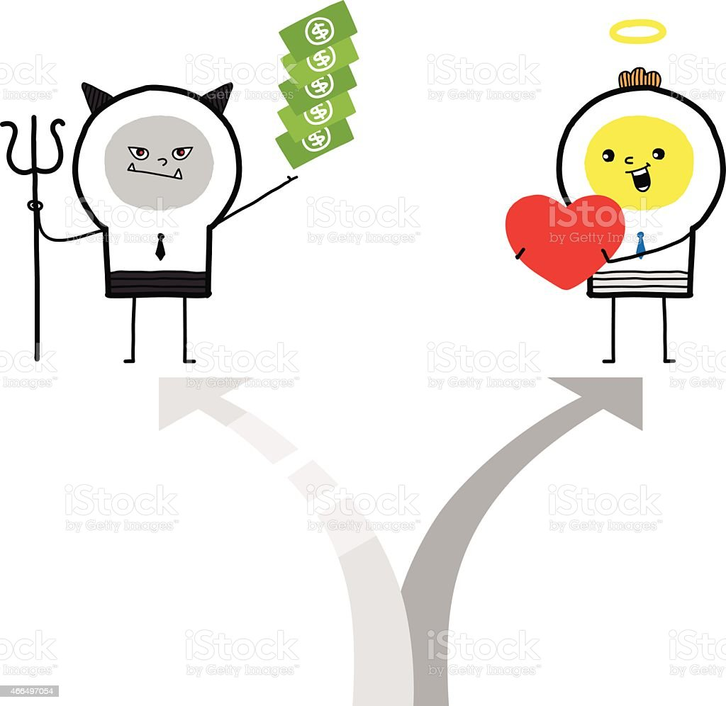 Arrows pointing in different directions of love and money vector art illustration