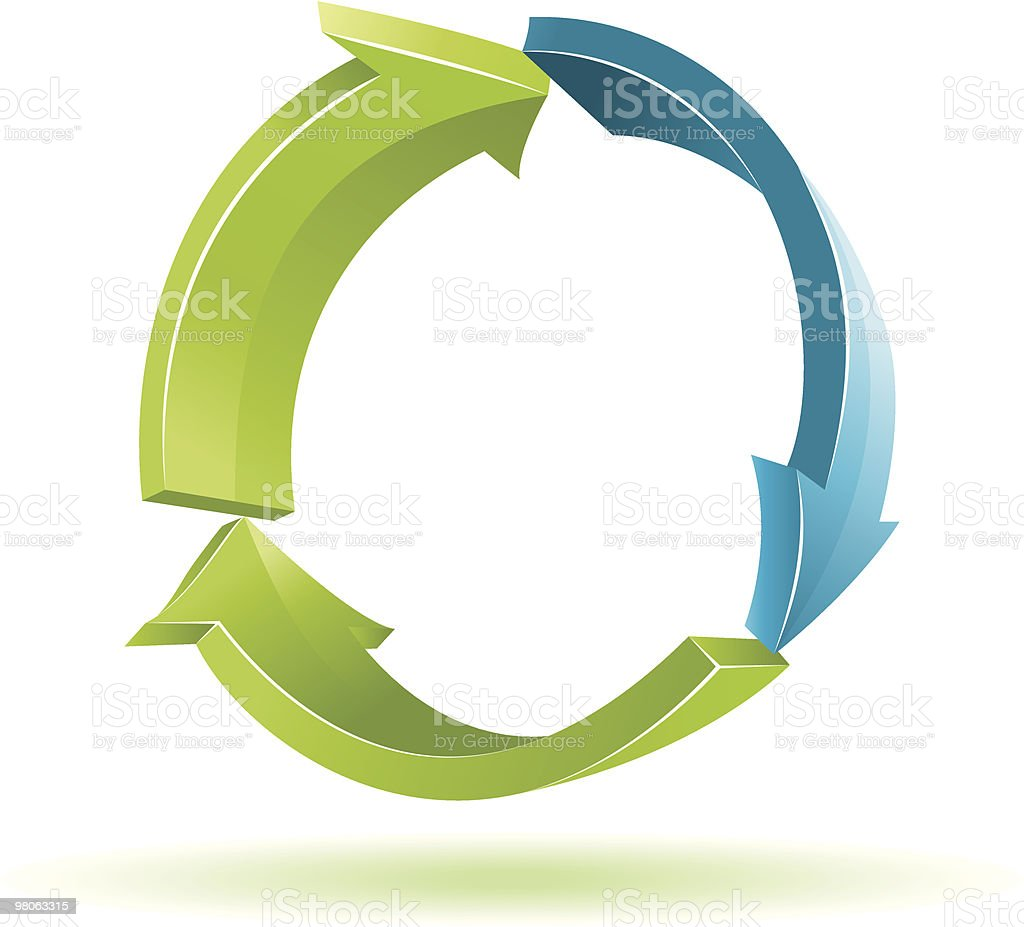 3 D freccia. Simbolo di riciclo. 3 d freccia simbolo di riciclo - immagini vettoriali stock e altre immagini di ambiente royalty-free