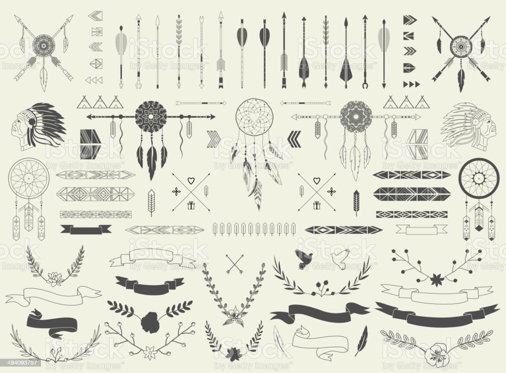 Arrows, ribbons, Indian elements, Aztec borders and embellishments vector art illustration