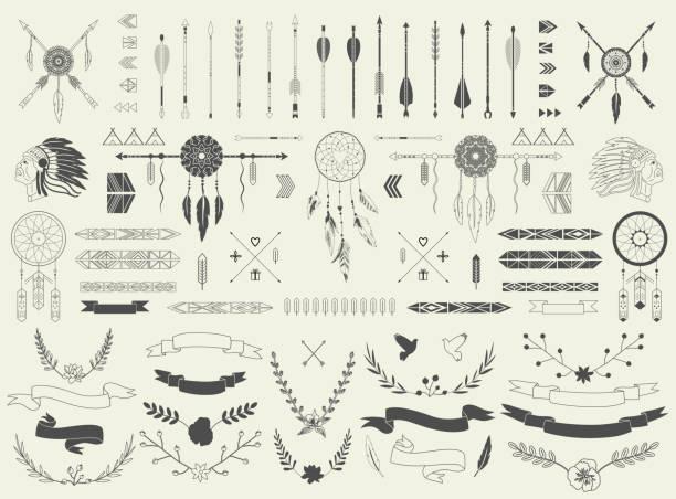 stockillustraties, clipart, cartoons en iconen met arrows, ribbons, indian elements, aztec borders and embellishments - indiase cultuur