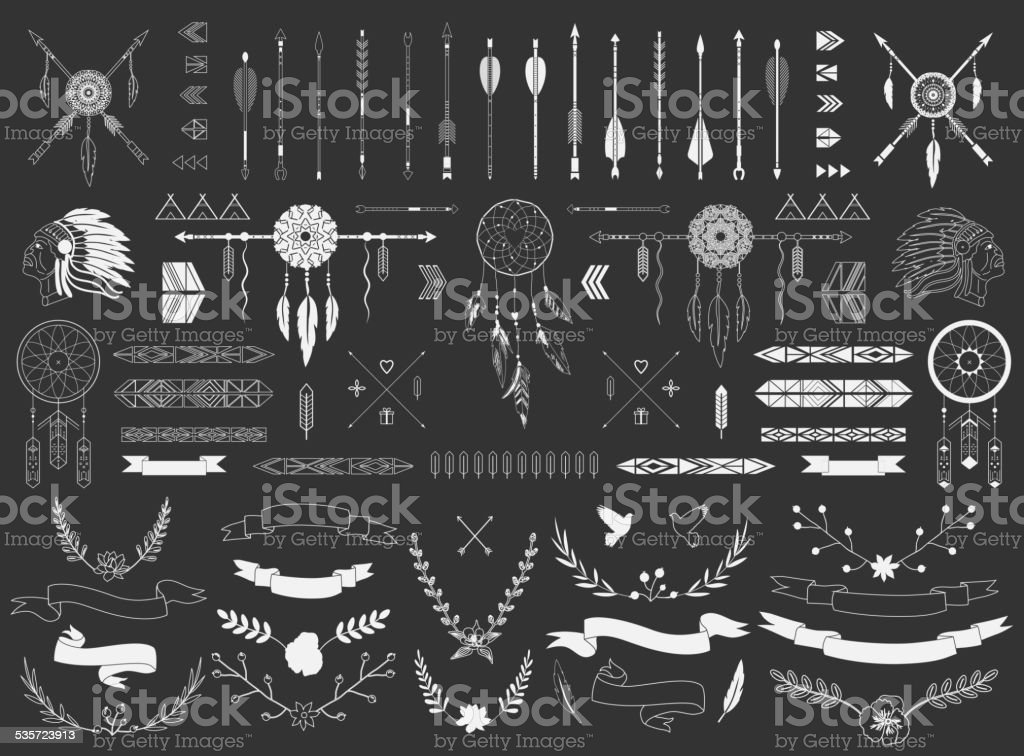 Arrows, ribbons, Indian elements, vector art illustration