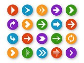 Arrows set. Arrow icons down direction up pointer sign next right left cursor black web interface navigation flat, vector collection