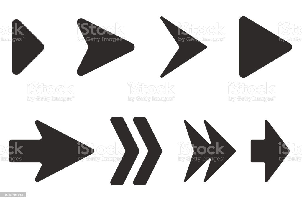 Arrows set. Black flat icons