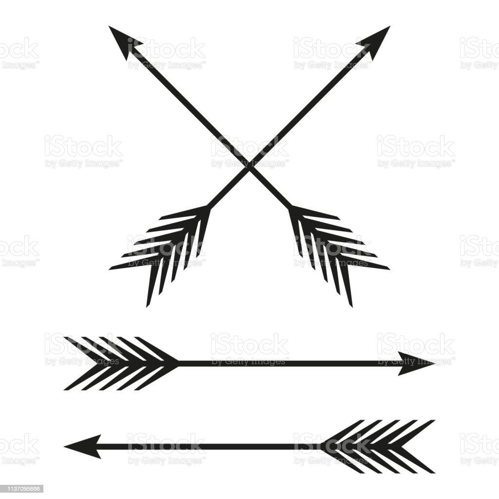 Arrows set. Bow arrow isolated on white background. Vintage design...