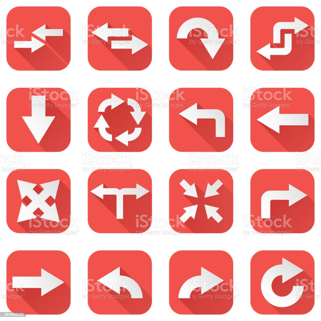 Arrows Set Collection Of Square Red Icons With Arrow Symbols Stock