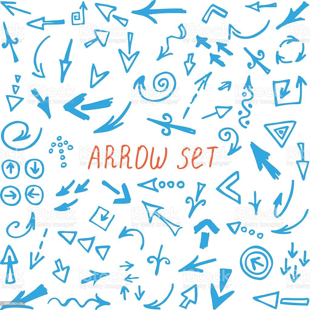 arrows set, hand drawn arrows set, sketched style royalty-free arrows set hand drawn arrows set sketched style stock vector art & more images of abstract