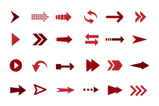 Arrows set icons. A collection of arrows designed in different ways. Isolated vector illustration.