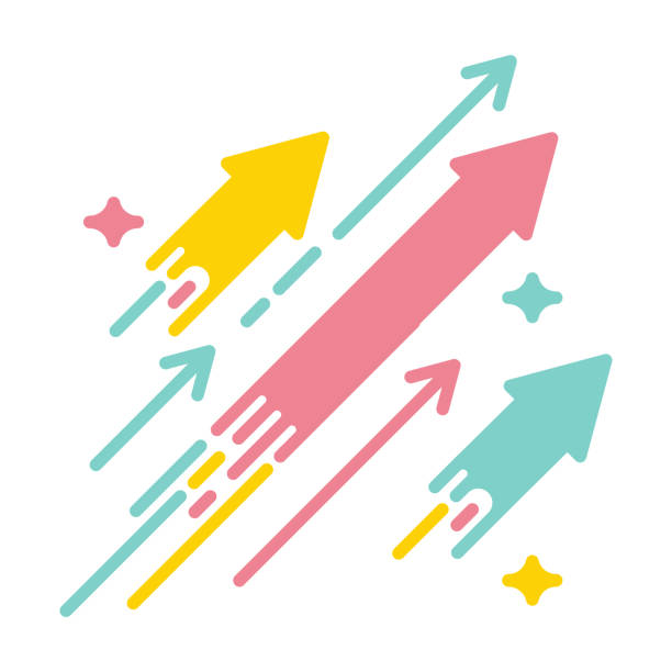 arrows shooting to the stars. vector icon illustration with bright vivid colors. concept for financial, personal and creative growth - в пути stock illustrations