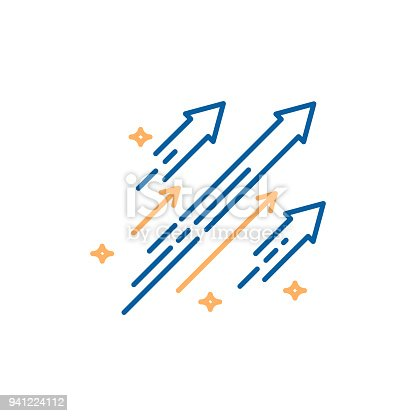 istock Arrows shooting to the stars. Vector trendy thin line icon illustration design. Concept for financial, personal and creative growth 941224112