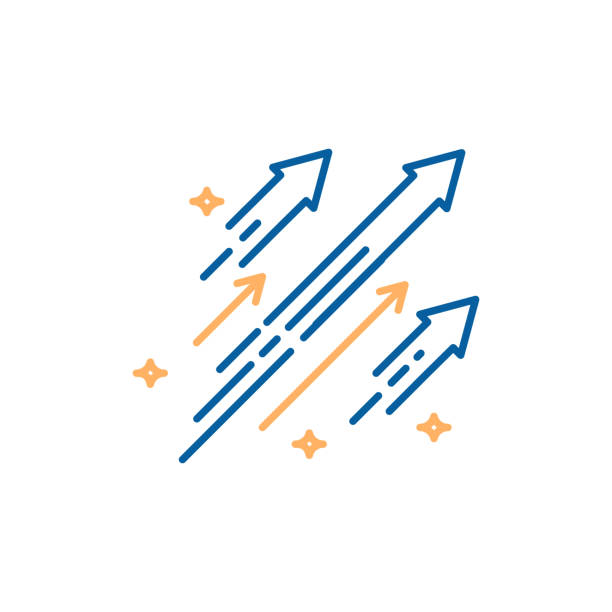 illustrazioni stock, clip art, cartoni animati e icone di tendenza di arrows shooting to the stars. vector trendy thin line icon illustration design. concept for financial, personal and creative growth - crescita