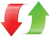 Arrows UP and DOWN. Green and red icons