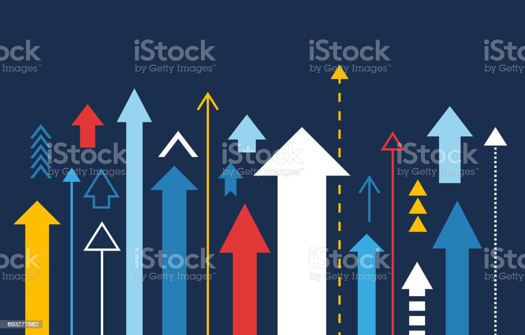 Arrows up, increase and success business illustration - illustrazione arte vettoriale