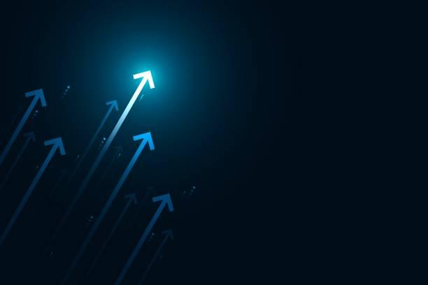 ilustrações de stock, clip art, desenhos animados e ícones de arrows up on blue background, copy space composition, business growth concept. - alter do chão