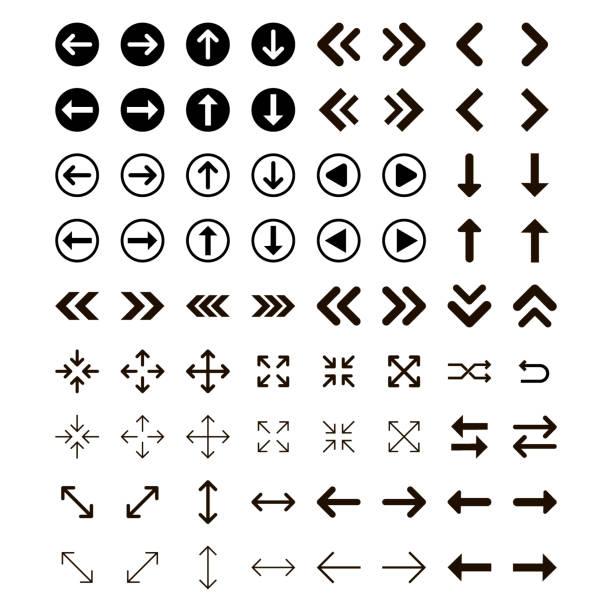 illustrazioni stock, clip art, cartoni animati e icone di tendenza di arrows vector collection with elegant style and black color. vector illustration. - mancino