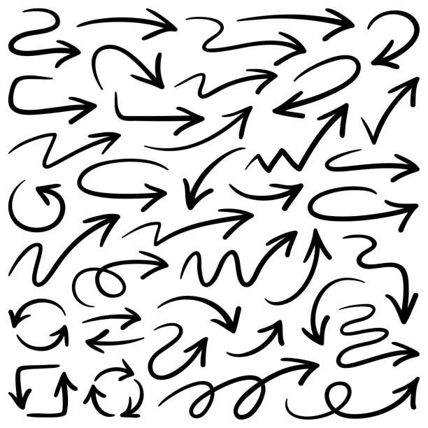 Arrows, vector design elements Set of vector arrows. Hand drawn design elements, different shapes curve stock illustrations