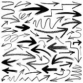 Set of grunge vector arrows. Hand drawn design elements, different shapes and materials. Isolated black images on white background.