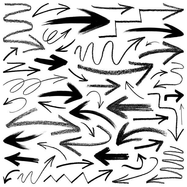pfeile, vektorgestaltungselemente - kreide stock-grafiken, -clipart, -cartoons und -symbole