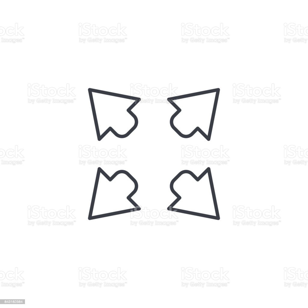 Arrows vector icon. Outside thin line icon. Linear vector symbol vector art illustration