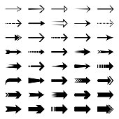 Set of simple black arrows. Vector design elements, different shapes.