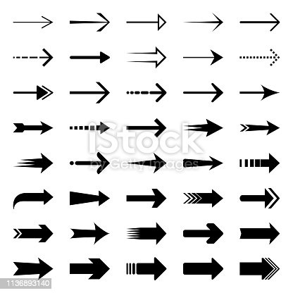Set of simple black arrows. Vector design elements, different shapes.