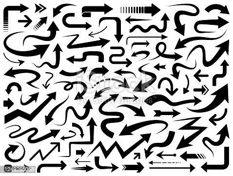 Set of vector arrows. Different shapes of arrows, design elements.