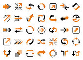 Set of vector arrows. Orange and black design elements isolated on white background