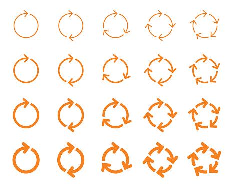Set of vector arrows, circular design elements