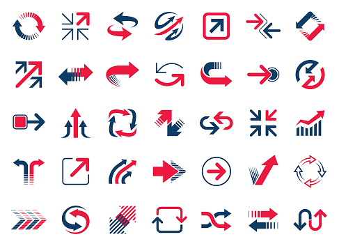 Set of vector arrows. Red and blue design elements isolated on white background