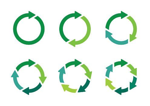 Set of green vector arrows, circular design elements
