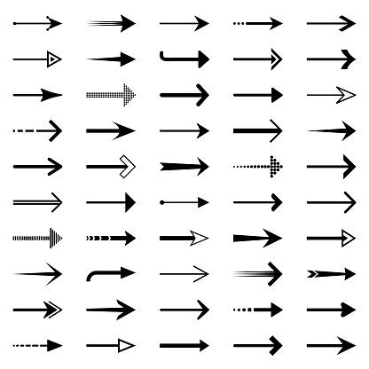 Set of black arrows. Vector design elements, different shapes.