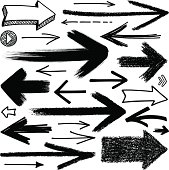 Arrows, drawing, set of different variations.