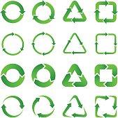 Arrows, design elements, green.