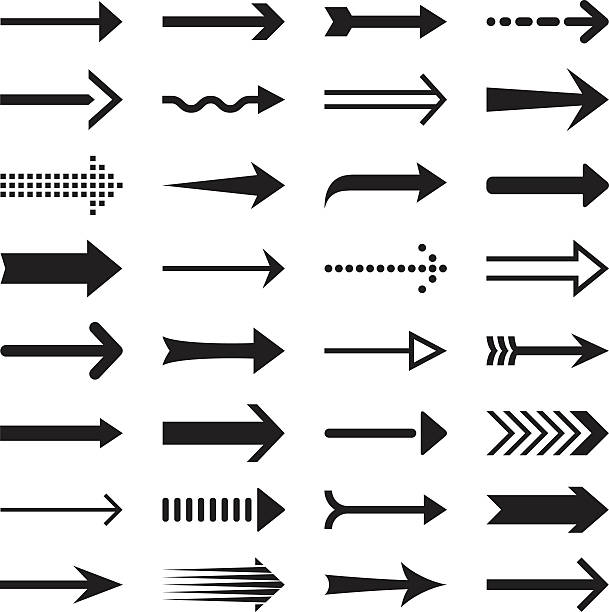 Arrows Arrows, design elements. straight stock illustrations