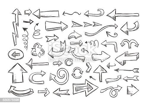 Arrows vector set. Hand drawn arrows signs